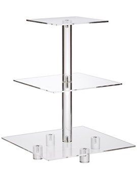 "Yest Buy 3 Tiers Square Party Wedding Birthday Clear Tree Tower Acrylic Cupcake Stand 3 Tier Square With Base(6"" Between 2 Layers) by Yest Buy"