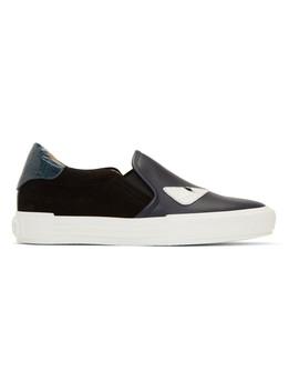 Black & Blue 'bag Bugs' Slip On Sneakers by Fendi