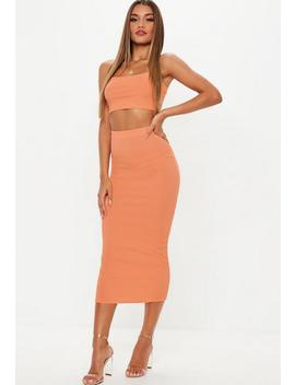 Peach Ribbed Midi Skirt And Strappy Top Co Ord by Missguided