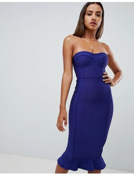 Pretty Little Thing Bandeau Frill Hem Midi Dress In Blue by Pretty Little Thing