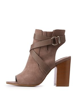 Caged Peep Toe Heel Booties by Charlotte Russe