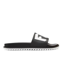 Black & White Rubber 'fendi Vocabulary' Sandals by Fendi