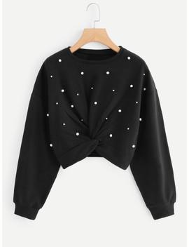 Beaded Twist Front Sweatshirt by Sheinside