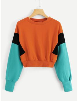 Colorblock Round Neck Sweatshirt by Sheinside