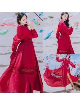 Vintage Sweet V Neck Elegant Mori Girl Puff Sleeve Dreamlike Princess Long Dress by Fashioninhk