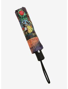 Disney Beauty And The Beast Stained Glass Push Button Umbrella by Hot Topic