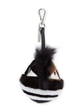 Striped Fur Monster Charm For Men's Bag, Black by Fendi