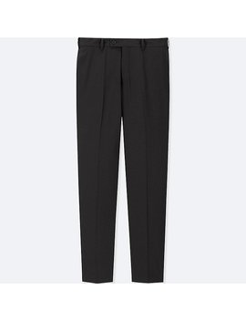 Men Stretch Wool Flat Front Pants (Online Exclusive) by Uniqlo