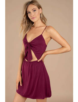 Krista Wine Front Tie Dress by Tobi