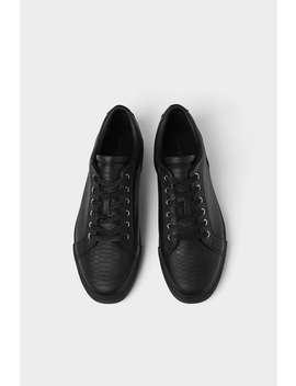 Black Embossed Sneakers  New Inman by Zara