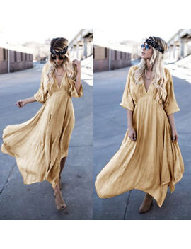 Women's Summer Boho Chiffon Party Evening Beach Dresses Long Maxi Dress Sundress by Unbranded