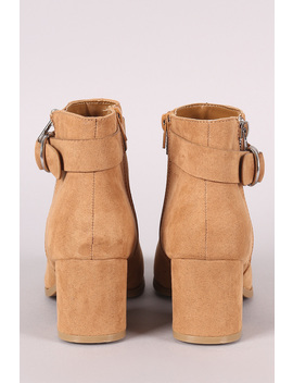 Bamboo Suede Almond Toe Block Heeled Ankle Boots by Urbanog