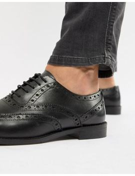 Asos Design Brogue Shoes In Black Leather by Asos Design