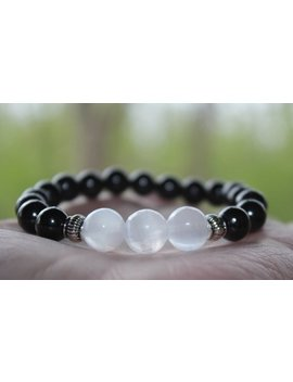 Shungite And Selenite Satin Spar, Stretch Bracelet Unisex, Multiple Sizes, Healing, Protective, Balancing Energy, Calming, Positive Energy by Shopping Buy Faith