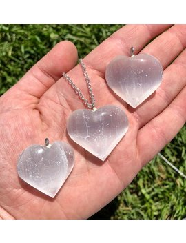 Raw Selenite Necklace   Selenite Heart Pendant   Selenite Jewelry   Healing Crystal Necklace   Selenite Crystal   Selenite Pendant by New Moon Beginnings