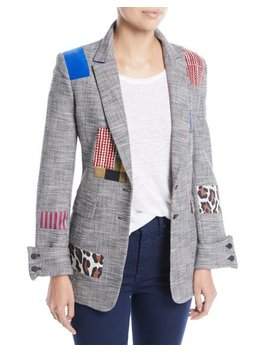 Paulene Patchwork French Cuff Check Blazer by Alice + Olivia