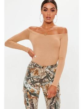 Camel Bardot Long Sleeve Bodysuit by Missguided