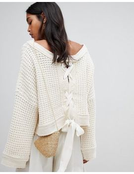 Free People Belong To You Paneled Crochet Knit Sweater by Free People