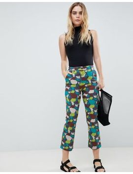 Asos Design Kick Flare Trousers In Tile Print by Asos Design