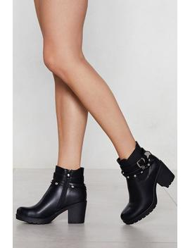 Buckle It Faux Leather Boot by Nasty Gal