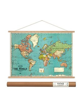 "Cavallini Papers Bacon's World Map Vintage Style Decorative Poster & Hanger Kit, 28"" X 20"" by Cavallini Papers & Co."