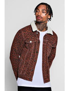 borg-collar-leopard-denim-jacket by boohoo