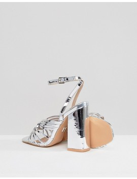 Lost Ink Silver Block Heeled Strappy Sandals by Lost Ink.