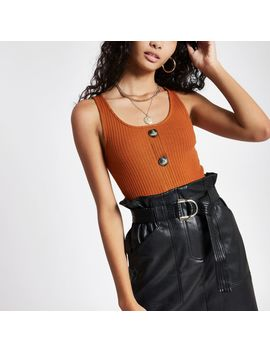 Brown Button Front Vest by River Island