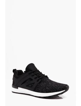 Knitted Lace Up Trainer by Boohoo