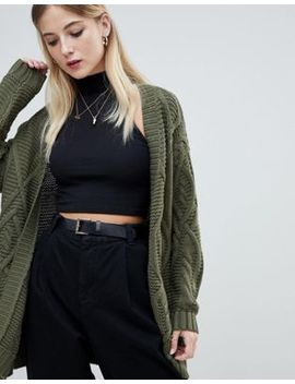 Noisy May Cable Knit Cardigan by Noisy May