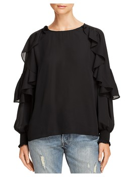 Ruffled Blouson Sleeve Top   100 Percents Exclusive  by Aqua