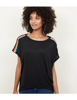 Blue Vanilla Black Rainbow Tape Oversized Top by New Look
