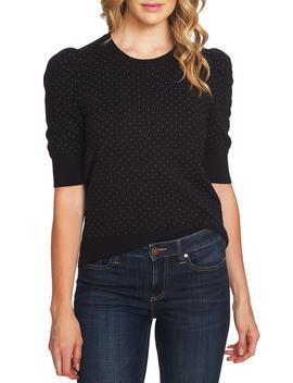 Puffed Sleeve Jacquard Sweater by Cece