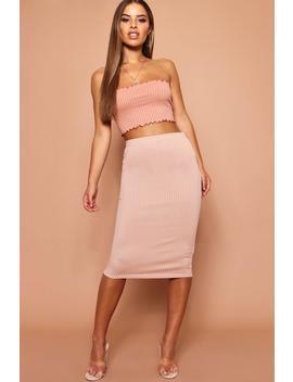 Petite Jumbo Rib Midi Skirt by Boohoo