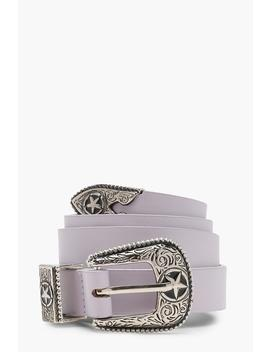 Star Buckle Skinny Western Belt by Boohoo