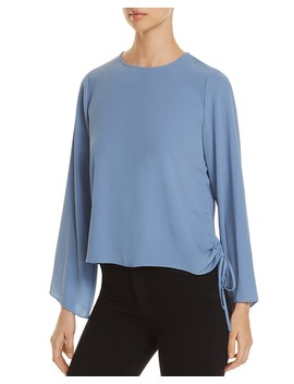 Side Drawstring Bell Sleeve Top   100 Percents Exclusive by Vince Camuto