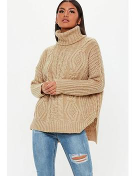 Brown Knitted Oversized Sweater by Missguided
