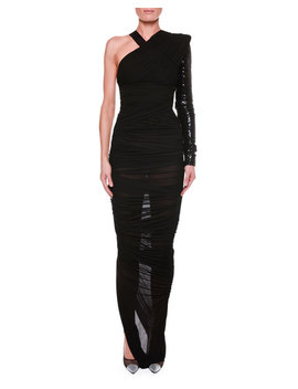 One Shoulder Ruched Gown With Beaded Embellishment by Tom Ford