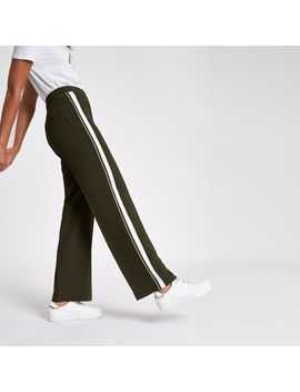 Khaki Stripe Side Straight Wide Leg Trousers by River Island