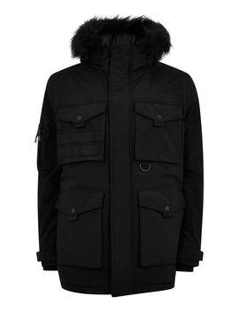 Black Padded Parka Jacket by Topman