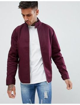 Asos Design Harrington Jacket With Funnel Neck In Burgundy by Asos Design
