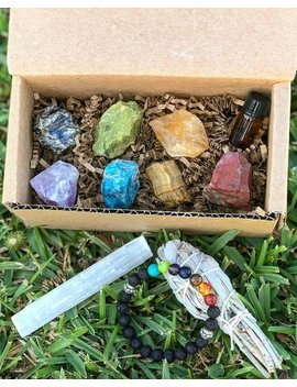 Chakra Alignment Kit | Chakra Box | Chakra Crate | Chakras | Monthly Crystal Box | Chakra Crystals | Chakra Pouch | Monthly Crystal Gift by Karmas Krystals