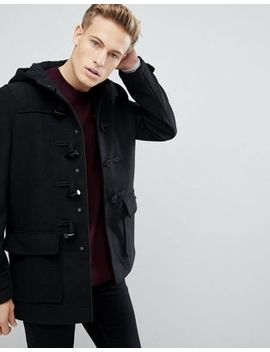 Burton Menswear Wool Duffle Coat In Black by Burton Menswear London