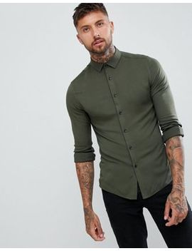 Asos Design Skinny Viscose Shirt In Khaki by Asos Design