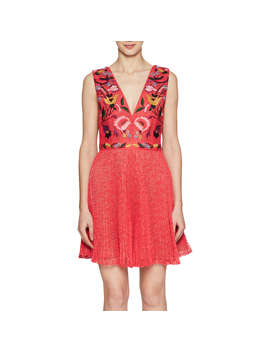 French Connection Alice Lace V Neck Dress, Watermelon/Multi by French Connection