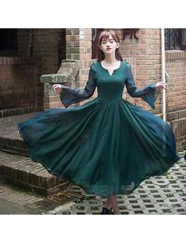 Japanese Sweet Vintage Mori Girl Elegant Chiffon  Sexy V Neck Long Dress Fairy by Unbranded