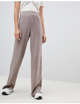 River Island Wide Leg Knitted Pants In Taupe by River Island