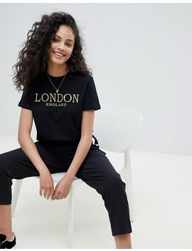 Asos Design T Shirt With Gold Embroidered London Print by Asos Design