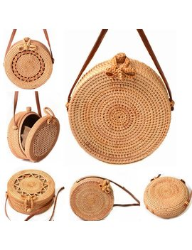 2018 Round Straw Bags Women Summer Rattan Bag Handmade Woven Beach Cross Body Bag Circle Bohemia Handbag Bali by Moonbiffy