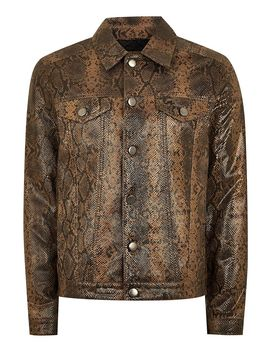 Leather Snake Print Western Jacket by Topman